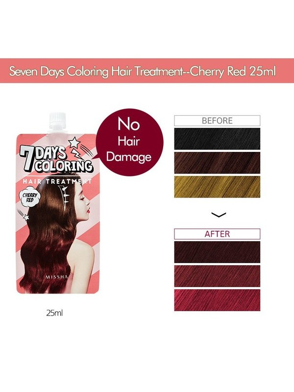 Missha 7Days Coloring Hair Treatment - Cherry Red